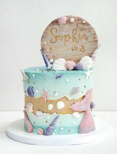Little Mermaid Cakes, Mermaid Birthday Cakes, Beach Cake Birthday, Ocean Cakes, Beach Cakes, Occasion Cakes, Girl Cakes, Buttercream Cake, Love Cake