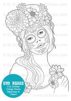 Digital Stamp Calavera girl, Day of the dead Dia de los muertos digistamp catrina, instant download adult coloring page