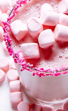 Strawberry Marshmallow Milkshake recipe. #BiteMeMore #milkshakes