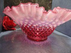 large vintage Fenton Cranberry Opalescent Hobnail bowl