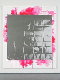 paintingorsomething: Gardar Eide Einarsson Silver Tarp (Pink), 2014acrylic, graphite, ink, silkscreen on canvas, 220 x 190 cm