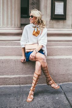 spring / summer, fall / winter, spring fashion, fall fashion, spring outfits, fall outfits, street style, street chic style, casual outfits, beach outfits, getaway outfits - white boxy sweater + denim a-line mini skirt + brown gladiator sandals + light pink shoulder bag + yellow silk scarf + black sunglasses
