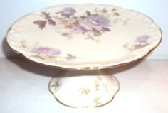 LIMOGES-MADE-IN-FRANCE-ROSES-FLORAL-PEDISTAL-COOKIE-CAKE-PLATE-STAND-VINTAGE