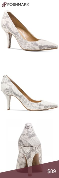 59d1daabde0d Michael Kors Gray   White Python Pointed Toe Pumps
