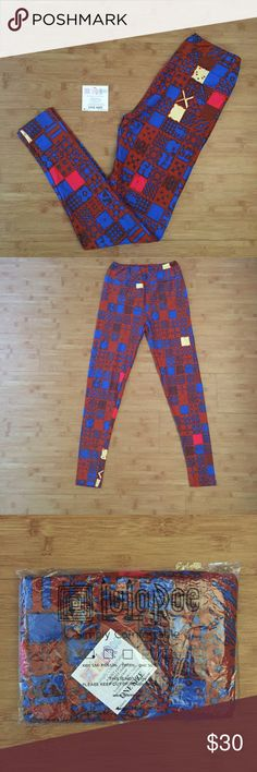 NWT OS Lularoe Leggings Brand new   Leggings are ultra stretchy and super soft. They're as close to your own skin as you can get.  Never worn OS Made in China orange blue squares LuLaRoe Pants Leggings