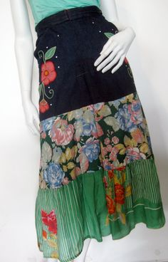beautiful upcycled reconstructed skirt made out of 70s denim jeans and silk/ cotton floral scarfs