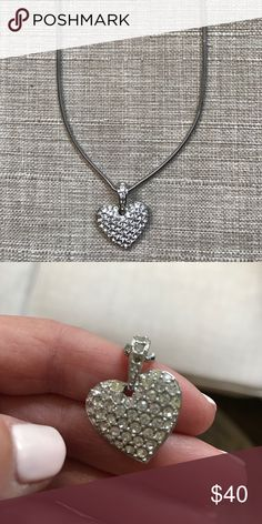 Swarvarski heart necklace Hardly worn--one crystal is out but can't really tell Swarovski Jewelry Necklaces