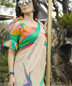 Blouse sleeve design - The handmade craft Saree Jacket Designs, Blouse Designs High Neck, Best Blouse Designs, Simple Blouse Designs, Bridal Blouse Designs, Stylish Dress Designs, Stylish Blouse Design, Saree Wearing Styles, Sleeves Designs For Dresses