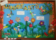 A bright and colourful display, which encourages children to learn about minibeasts in their garden. Eyfs Activities, Nursery Activities, Spring Activities, Primary Activities, Preschool Displays, Classroom Displays Primary Working Wall, Nursery Display Boards, Minibeasts Eyfs, Display Boards For School