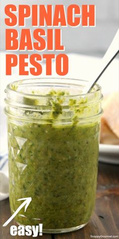 Spinach Basil Pesto, Basil Pesto Recipes, Herb Recipes, Canning Recipes, Sauce Recipes, Low Carb Recipes, Cilantro Recipes, Kitchen Recipes, Diy Kitchen