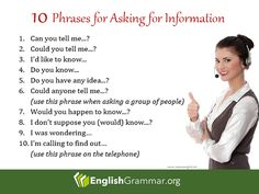 English Grammar - How to ask for information: