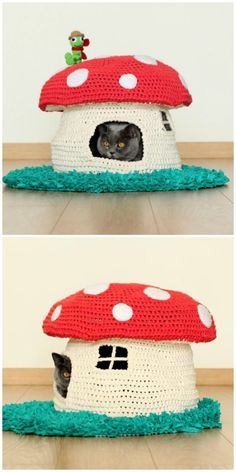 You are going to love this Crochet Cat Cave Free Pattern and it's just one of many awesome ideas in our post. Round Loom Knitting, Loom Knitting Projects, Yarn Projects, Crochet Projects, Cute Crochet, Crochet Crafts, Yarn Crafts, Crochet Designs, Crochet Patterns