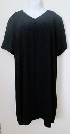 Worthington Woman Size 26W Black Dress Short Sleeve V Neck Career Or Event #Worthington #Shift #LittleBlackDress
