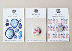 BIZ CARDS Set of 3 Art Buttons Blue Pebbles Flamingos by IsaBellabyMargriet
