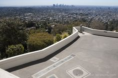 Rebel Without A Cause Movie Location Griffith Observatory, 2800 East Observatory Road, Griffith Park, Los Angeles. The knife fight on the Observatory terrace overlooking the city. Rebel Without A Cause, Griffith Observatory, Griffith Park, Filming Locations, Terrace, Sidewalk, City, Movies, Balcony