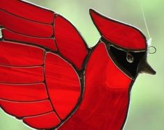 Stained Glass Cardinal and Oak Leaf Motif by SusesStainedGlass