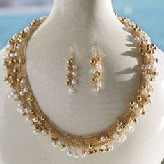 Faux Pearl and Bead Necklace/Earring Set from Monroe and Main.