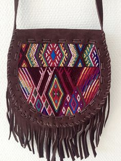 Karma bag Aztec with gypsy fringes! Handmade from suede in Guatemala