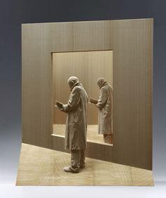 Peter Demetz. Figurative wood sculptor artist. Modern art. Sculpture.