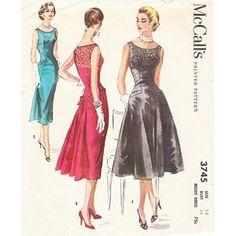 My Vintage Patterns / McCalls cocktail dress 1950s