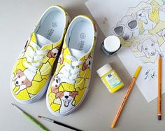 Yellow painted shoes. Full of dogs, Jack Russell Terrier. Personalised shoes. Yellow funny dog.