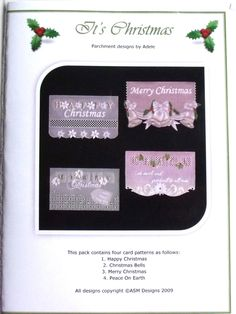 IT'S CHRISTMAS BY ADELE  Four lovely Christmas designs. The patterns come with full colour illustrations, full size patterns and clear working instructions. All patterns in Adele's pattern packs are printed on high photo quality paper to ensure ease of use. Clear, concise instructions ensure that even new-comers to this fascinating craft can follow them with ease.