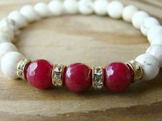 Gemstone and Gold Stretch Bracelet, Ruby Red Jade, White Howlite, Clear Rhinestone Stacking Bracelet, Gift for Her, White Beaded Bracelet by BeJeweledByCandi on Etsy