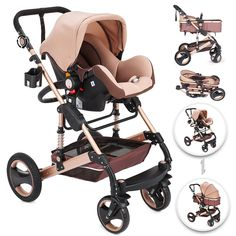 Activity & Gear Baby Stroller Baby Stroller Reclining Lightweight Folding Shock Absorbering Portable Two-way Push Cart For Four Seasons Use Travel For Kids Highly Polished