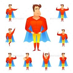 Buy Superhero Avatar Set by macrovector on GraphicRiver. Superhero in red costume and blue cape in different poses avatar set isolated vector illustration. Editable EPS and R.