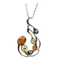 Sterling Silver Multi-Color Amber Large Pendant Necklace, 18""
