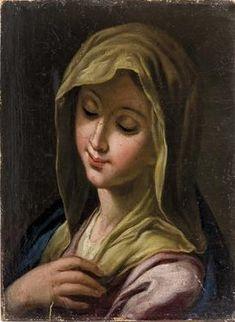 """Icone Sacre, Alpine, XVIII secolo. Olio su tela, 19.5 x 14.5 cm, olio su tela, di """"Busto di s. Maria"""""""