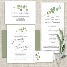 Calligraphy Wedding Invitations Greenery Eucalyptus Garland Set on a white background, this calligraphy wedding invitation boasts a collection of eucalyptus in hand painted watercolor. The design combines eucalyptus leaves in a beautiful garland. Additionally, we have added elegant calligraphy lettering to complete the design.