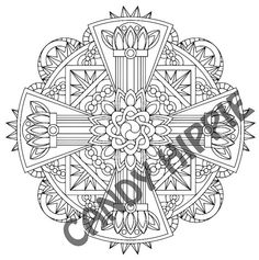 Mandala Coloring Page - Strength Vajra - coloring page for adults to print and color for art therapy and meditation  This is one of the twelve adult