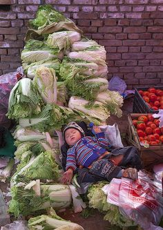 Baby Sleeping In The Vegetables, Opal Village Market, Xinjiang Uyghur Autonomous Region, China by Eric Lafforgue, via Flickr