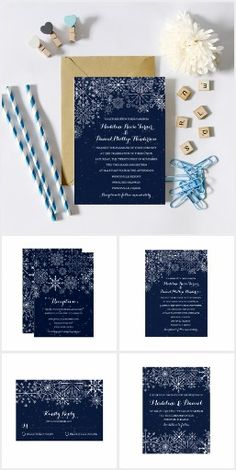 Gorgeous Snowflakes A wedding invitation suite featuring gorgeous snowflakes on a navy blue background - perfect for a winter wedding.