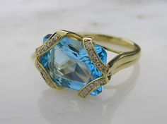 14 K Yellow Gold with Swiss Blue Topaz and Diamonds
