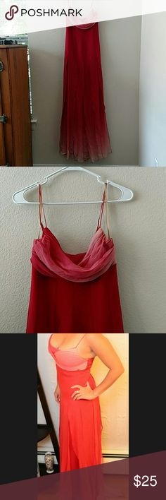 BCBG ombre chiffon gown Beautiful red to pink layered ombre gown. Top chiffon layer has cuts to waist level to create a flowing look. Small spot on hem as shown in photos. BCBGMaxAzria Dresses