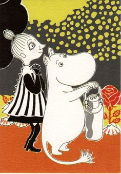 Retro Moomin Postcard - Moomintroll and Mymble Drawn Together, Childhood Stories, Moomin Valley, Tove Jansson, Simple Doodles, Little My, Vintage Cards, Illustrations Posters, Images