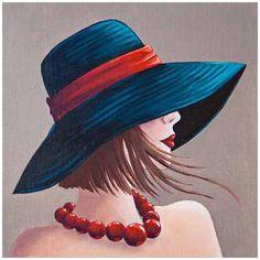 Image pour tableaux 3D format 30x30 cm femme au chapeau GK3030042