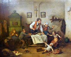 Johann Grund (1808 Wien - 1887 Baden-Baden), Eltern mit tobenden Kindern in der Stube, sign. J. Grund, Öl/Leinwand, gerahmt, H x B ca. 94 x 115 cm    Anbieter  Kunst- & Auktionshaus Walter Ginhart    Saalauktion  Ausruf:  3500.00EUR