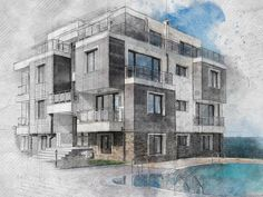 Architecture Sketch Photoshop Effect Tutorial - YouTube
