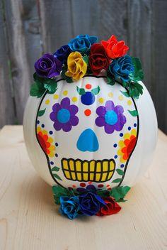 Duck tape calavera pumpkin - Halloween/Dia de Los Muertos