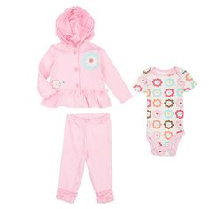 "Koala Baby Organic Girls' 3 Piece Pink Floral Playwear Set with Hoodie, Bodysuit and Pants - Babies R Us - Babies ""R"" Us *NEWBORN*"