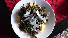 Kale crisps and scrambled egg....healthy , easy and oh so tasty