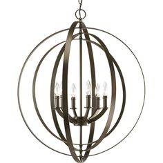 Progress Lighting Equinox 27.75-in 6-Light Antique Bronze Hardwired Globe Standard Chandelier