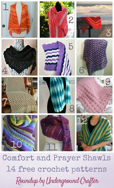 Roundup: 14 free crochet patterns for comfort and prayer shawls, curated by Underground Crafter   Comfort and prayer shawls are a great way to wrap someone in handmade love. These patterns are perfect for a loved one going through a difficult time or for donation to a variety of charities.