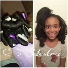 """I used Blended Beauty's """"Butter Me Up"""" and put flexi rods over night. Her hair puffed up, but it was cute."""