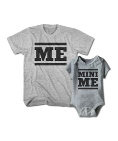 Gray Heather 'Me' Tee & 'Mini Me' Bodysuit - Infant & Men's Regular by Happy Soul #zulily #zulilyfinds