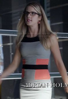 Felicity's grey, black and orange colorblock dress on Arrow. Outfit Details: http://wornontv.net/20810/ #Arrow