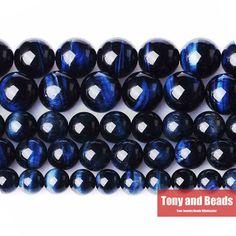 """무료 배송 자연 돌 블루 청금석 호랑이 눈 마노 라운드 느슨한 비즈 15 """"스트랜드 4 6 8 10 미리메터 선택 크기 TG1"""